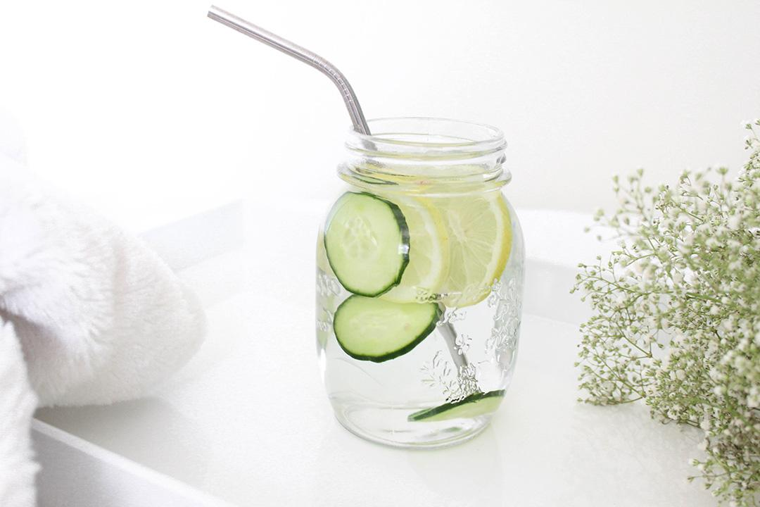 Infused Water with Lemon and Cucumber slices